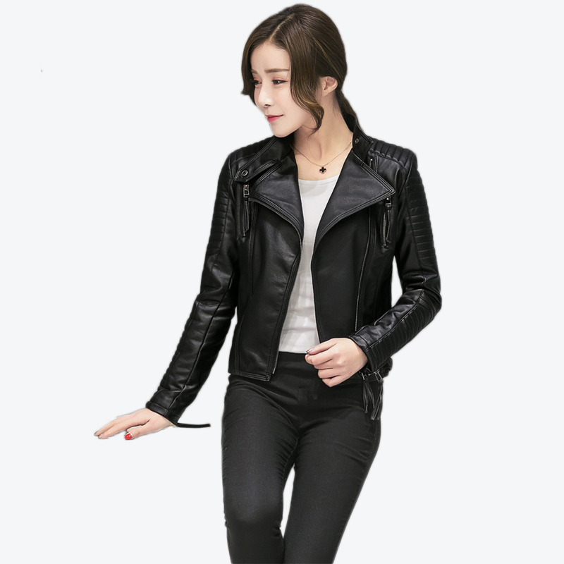 Faux   Leather   Buckle Belt Multi Zipper Women PU Jackets Stand Collar Short Motorcycle Woman Coats 2018 Winter Slim Female Outwear