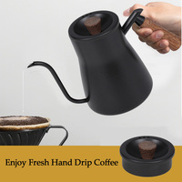 Pour Over Coffee Kettle with Thermometer Hand Drip Coffee Pot with Lid Wooden Handle Kettle for Kitchen Pour Over Coffee Teapot