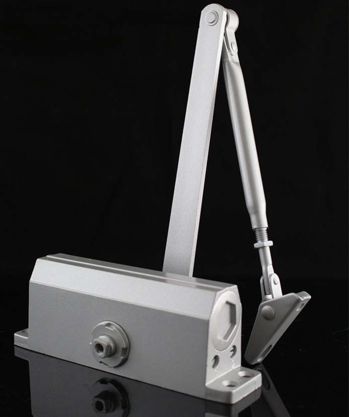 ФОТО Max. 60KG Middum Door Closer - Silver, Aluminum Finish 2-Section Speed Adjustable
