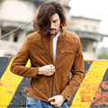 2017 New Men Genuine Sheepskin Yellow Brown Leather Jacket Stand Collar Slim Fit Men Winter Fashion Popular Coat FREE SHIPPING