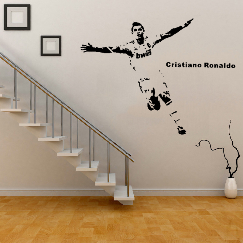 Re3d wall sticker Football celebrity C Ronaldo wall stickers for kids rooms self-adhesive removable 3D Wallpapers
