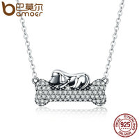 BAMOER Authentic 925 Sterling Silver Dog Doggy S Dream With Bone Pendant Necklaces Women Clear CZ