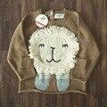 Ins de Malha Camisa Camisola Para Meninos Das Meninas Do Bebê Cardigan Padrão Estereoscópico Leão Raposa Roupas Puxar Pano Cicishop Enfant