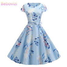 Bebovizi New Women Clothes 2019 Summer Dress Casual  Elegant Office Flower Print Blue Vestidos Plus Size Vintage Bandage