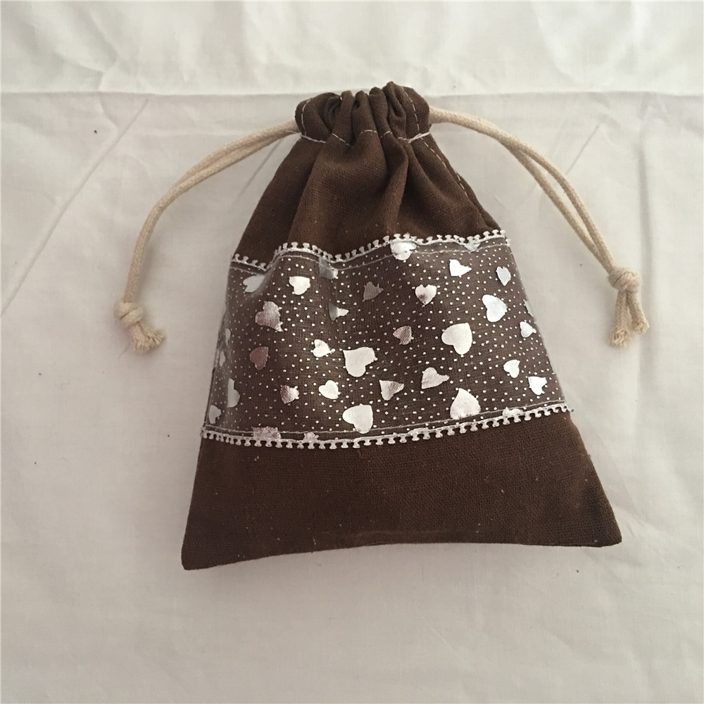 YILE 1pc Solid Brown Trim Cotton Drawstring Bag Multi-purpose Organizer Pouch Party Gift Bag Solid Brown Trim 190111a