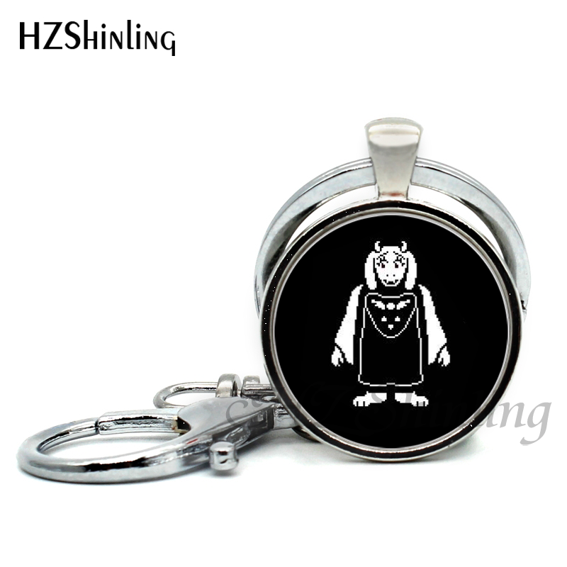 2017 Undertale Game Gamer Gaming Keychains Ghost pendant Video Game Keyring Glass Cabochon Key Chain Art Gifts for Player