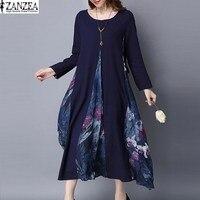 ZANZEA Fashion Women Long Sleeve Loose Tunic O Neck Mid Calf Party Shirt Dress Vintage Floral