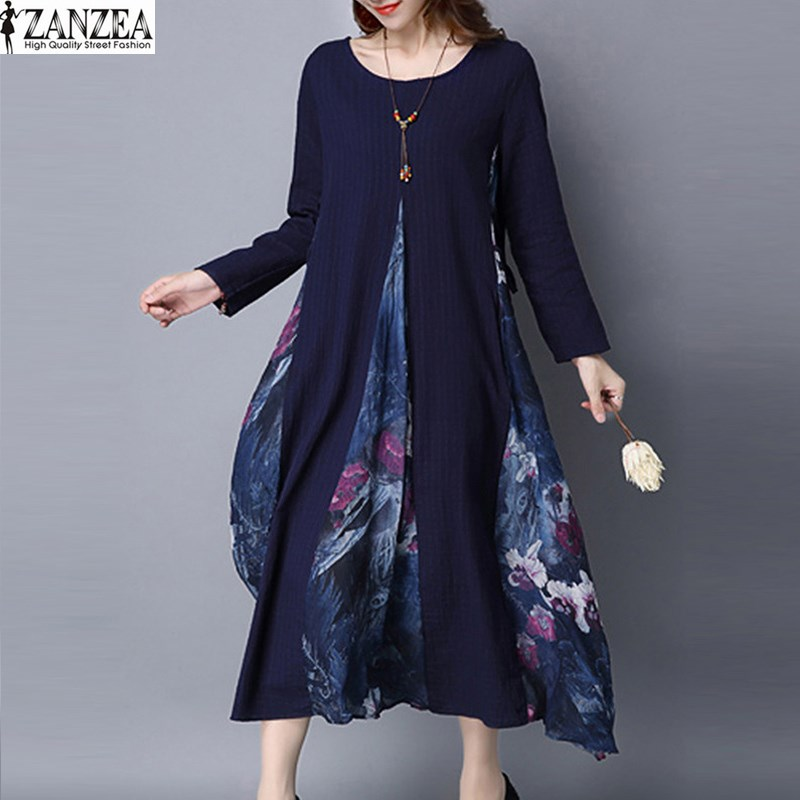 2018 ZANZEA Fashion Women Summer Dress Long Sleeve Loose O-Neck Party Shirt Dress Vintage Floral Print Mori Dress Plus Size