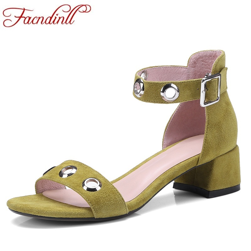 FACNDINLL new shoes summer 2018 fashion nubuck leather shoes woman middle heels high heels sexy open toe women dress party shoes 2018 new summer shoes woman high heels