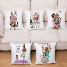 Милый мультяшный Модный чехол для подушки для мамы и ребенка, короткий плюшевый чехол для подушки, Декор, принт для дивана, дома, автомобиля, чехол для подушки 45x45 см