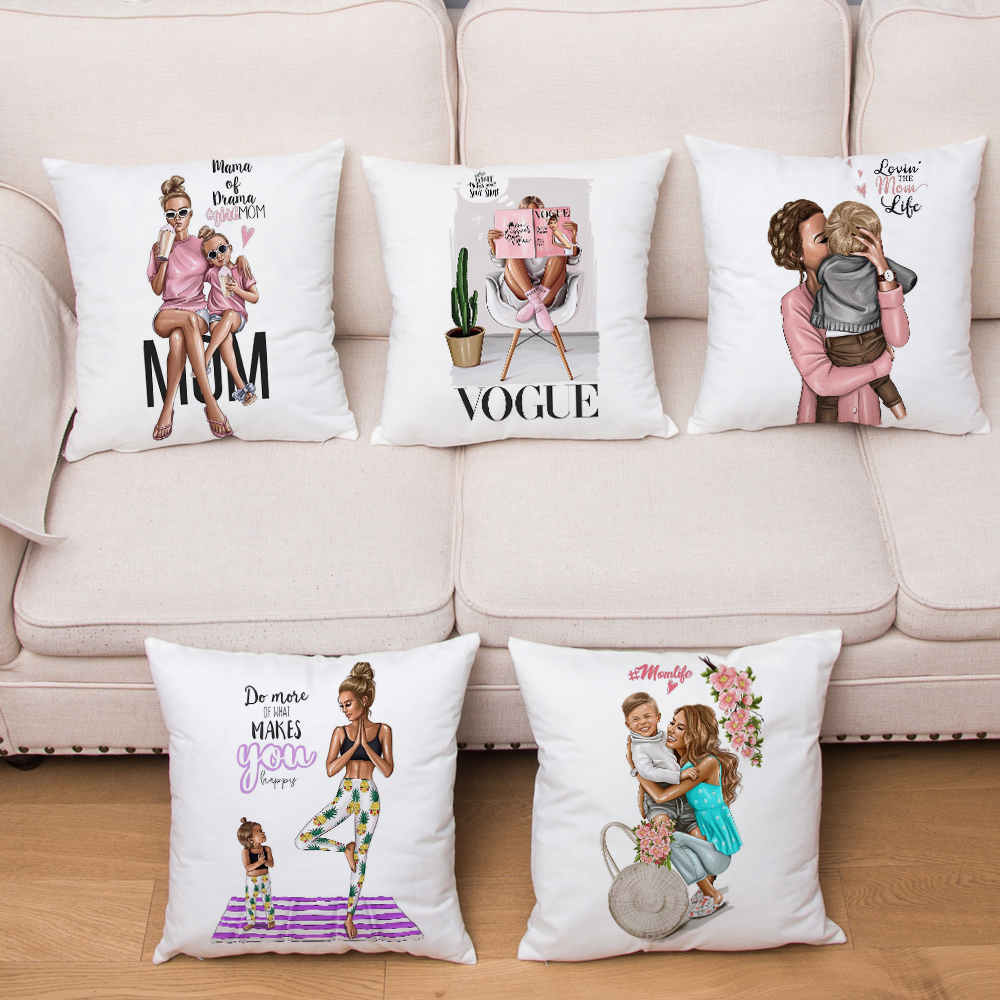 Cute Cartoon Fashion Mom And Baby Cushion Cover Short Plush Pillow Case Decor Print For Sofa Home Car Pillow Case 45x45cm