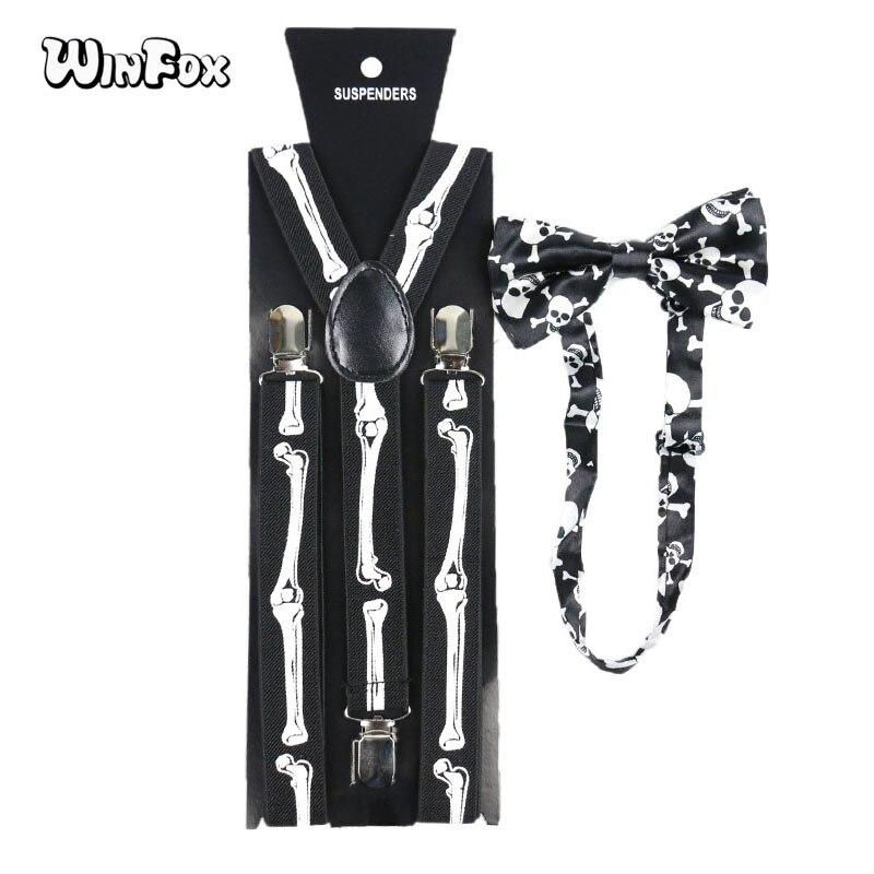 Winfox Vintage Black White 2.5cm Wide Skull Bone Suspenders Bowtie Brace Women Men Suspenders Bow Tie Set