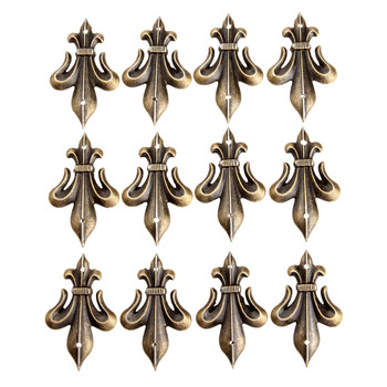 12pcs antique metal decorative protective corners for jewelry box gift wine box wood case feet leg corner guard for furniture 12Pcs Antique Bronze Decorative Jewelry Box Feet Leg Furniture Decorative Corner Brackets Wood Case Feet Leg Protector with Nail