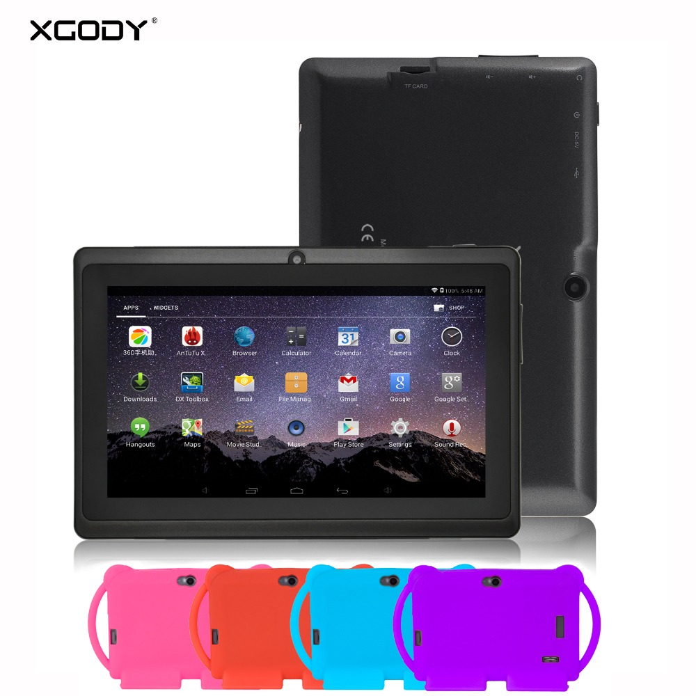 XGODY 7 inch Kids Educational Tablet PC Android 8.1 With 7 inch Universal Silicone Case Cover Handle Stand 8GB Ram Tablet PC#