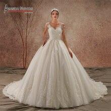 فستان زفاف جديد لعام 2020 مزين بحمالات من الدانتيل موديل NS3436