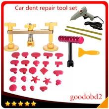 цена на 12V Glue gun +Car PDR Paintless Dent Repair Pulling Bridge +T Bar Hand Tool set with 24X Puller Tabs for Car Dent Repair Tools
