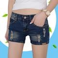 2017 Mulheres Azul Escuro Shorts Rasgado Skinny Verão Moda Casual Denim Shorts Mulheres Buraco Short Jeans De Alta Elasticidade de Algodão