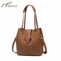 NUCELLE Women S PU Leather Shoulder Bags Ladies Vintage Scrub Leather Tote Bags Female Fashion Brief
