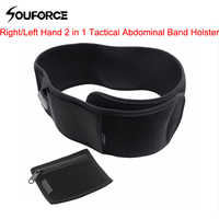 Right/Left Hand 2 in 1 Tactical Abdominal Band Holster for Glock 17 19 22 Series and Most Pistol Handguns