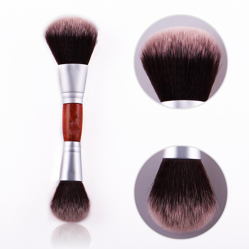 Cosmatic makeup brush unique 2 way dual heads loose powder Face blush blusher brush multi-function makeup beauty tool zebra 2 way dual action 4