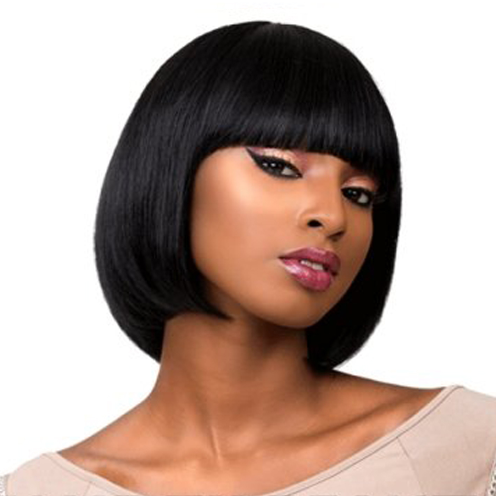 Amir Hair 10 inch Lady Black Bob Wigs Synthetic Short Straight Cosply Wig For Women