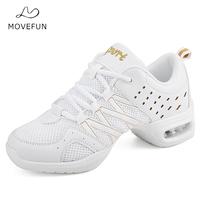 MoveFun Brand Gold Glitter Jazz Dance Shoes Sneakers for Woman Platform Dancing Shoes White Practice Dance Shoes Women/Girls 16