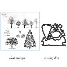 AZSG Sapling Trees Leaves Bird Cutting Dies Clear Stamps For Scrapbooking DIY Clip Art /Card Making Decoration Crafts