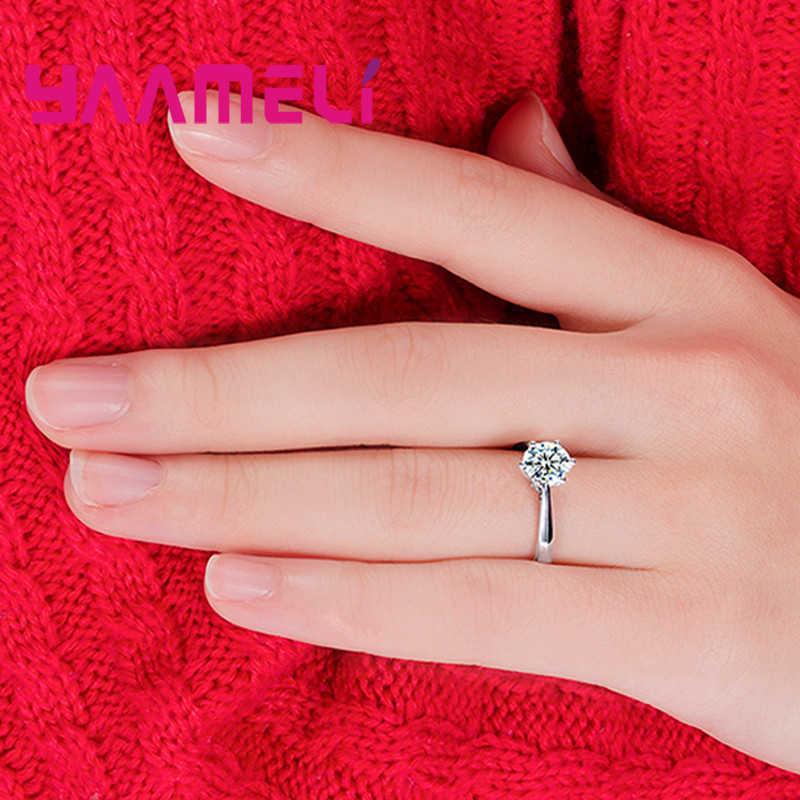เงินแท้ 925 โปรโมชั่นใหญ่ Super Bright Cubic Zirconia แหวนนิ้วมือสำหรับเจ้าสาวเครื่องประดับคริสตัล