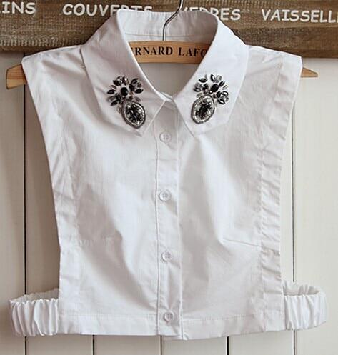Fashion Women Lapel Fake False Collar Sweater Fake Collar Embroidery Vest Blouse Shirt Detachable Collar