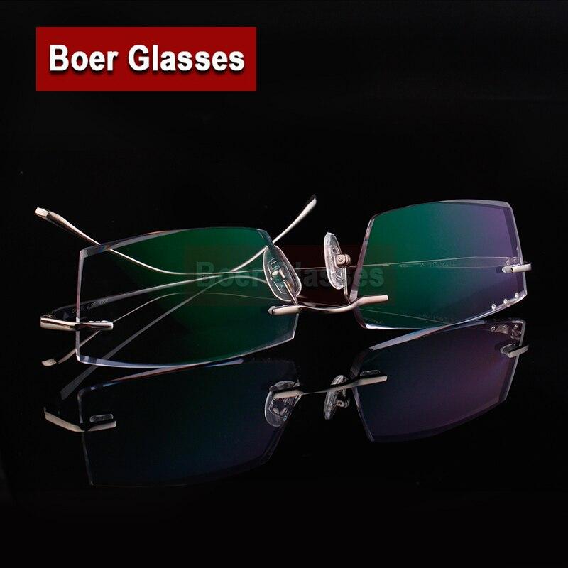 Nouveau mode titane lunettes myopie Spectacle optique Prescription lunettes coupe hommes lunettes hommes montures sans monture 088