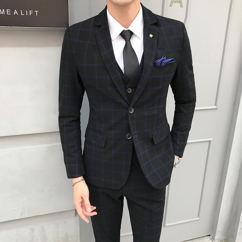 Chaqueta de hombre + chaleco + Pantalones/2019 nuevo novio moda Boutique Plaid vestido de boda conjuntos de traje de hombre alto  trajes de negocios informales-in Trajes from Ropa de hombre    3