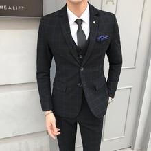 hot deal buy mens blazer + vest + pants / 2018 new groom fashion boutique plaid wedding dress suit sets mens high-end casual business suits
