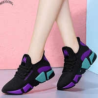 WHOSONG 2019 Spring Women Casual Shoes Fashion Breathable Walking Mesh Lace Up Flat Shoes Sneakers Women Vulcanized Shoes m305