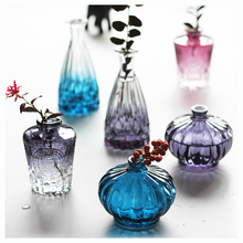 Colored glass vase Crafts Mini crystal Small flower terrarium containers wedding home decoration accessories modern