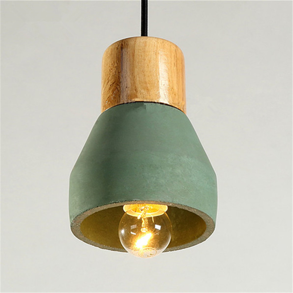 Vintage green cement shade led light industrial lighting fixtures wooden hotel modern pendant lights mini pendant ceiling lamp in pendant lights from lights