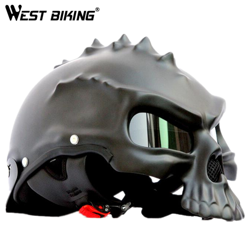 WEST BIKING Skull Helmet Motorcycle Helmet Bike Open Face Moto Harley Retro Helmets Unisex Ultra-light Bike Cycling Helmets 1000m motorcycle helmet intercom bt s2 waterproof for wired wireless helmet