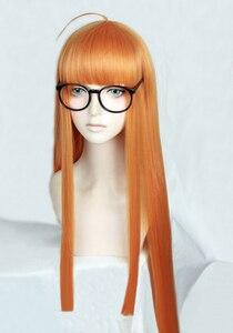 Image 2 - P5 Persona5 双葉桜 100 センチメートルロングストレートシトラスオレンジ耐熱コスプレ衣装ウィッグ + トラック + キャップ