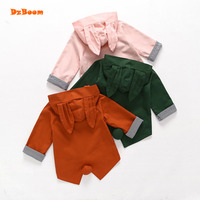 DzBoom Autumn Cute Rabbit Ears Loose Girls Coat Long Sleeve Cotton Children S Windbreakers Kids Jacket