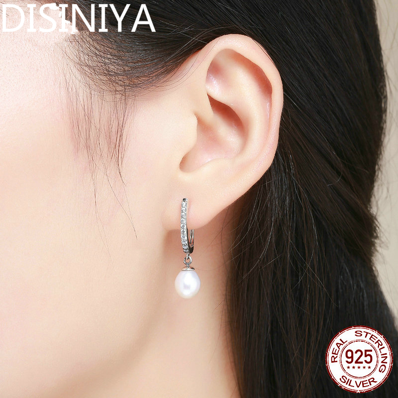 100 Pure 925 Sterling Silver Graceful Freshwater Pearl Clear CZ Drop Earrings For Women Jewelry Brincos Gift CQE194 in Drop Earrings from Jewelry Accessories