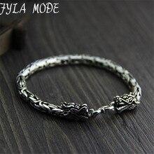 5MM Dragon Head Bracelet 925 Sterling Silver 19-21cm Hand Link Chain S925 Solid Thai Silver Double Dragon Bracelets Men Jewelry