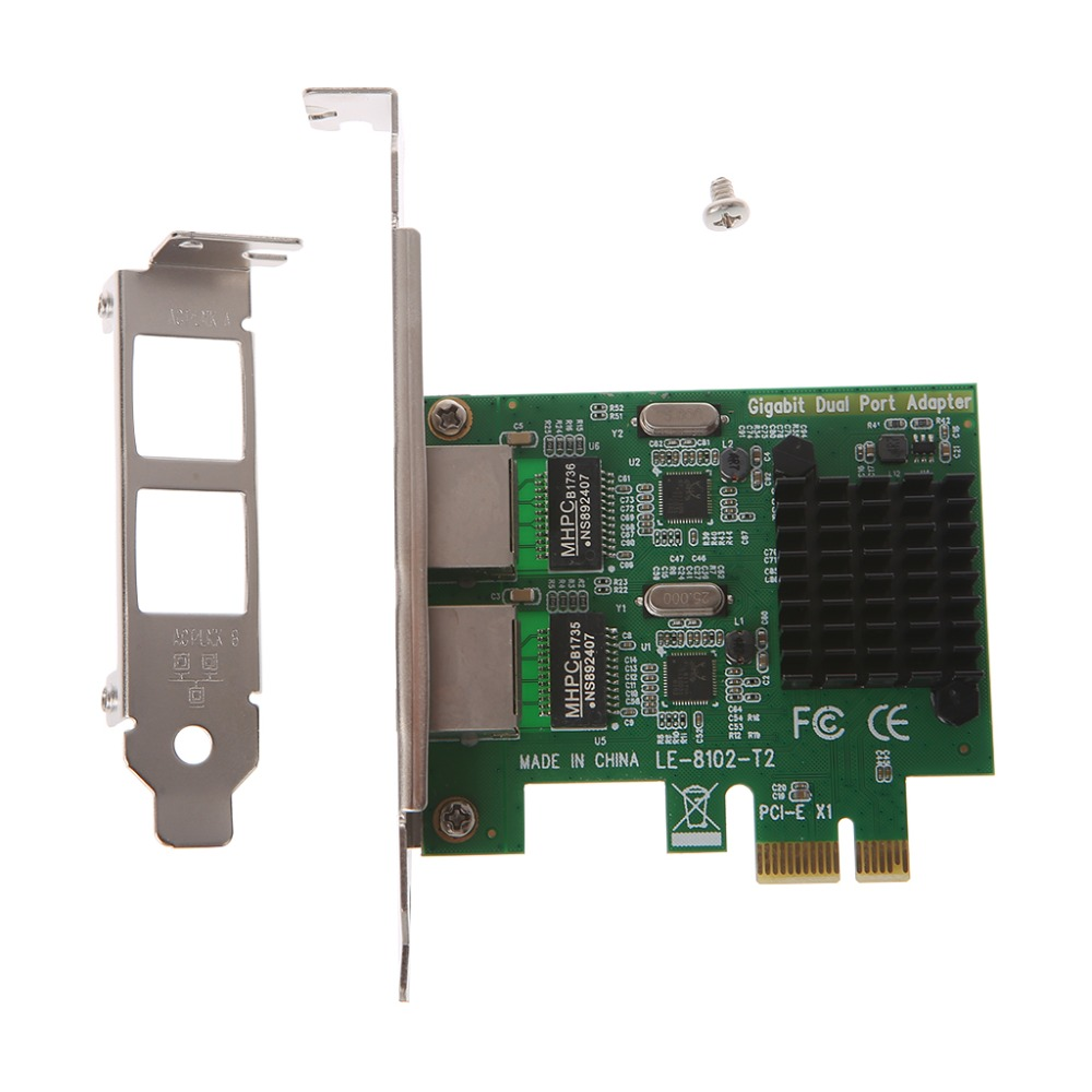 OPEN-SMART Dual-Port Slot PCI-E X1 RJ45 Interface Gigabit Ethernet Network Card 10/100/1000Mbps Rate Intel 82575 Adapter