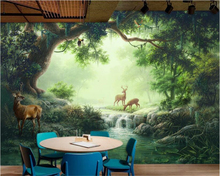 beibehang Advanced Fantasy Decorative Silk Cloth Wallpapers Aromatic Forest Elk Oil Painting Background Wall 3d wallpaper tapety