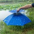 Tragbare Angeln Regenschirm Hut Kappe Faltbare Sonnenschutz Wasserdichte Kappe Doppel Atmungsaktiv Wind Angeln Headwear Regen Getriebe