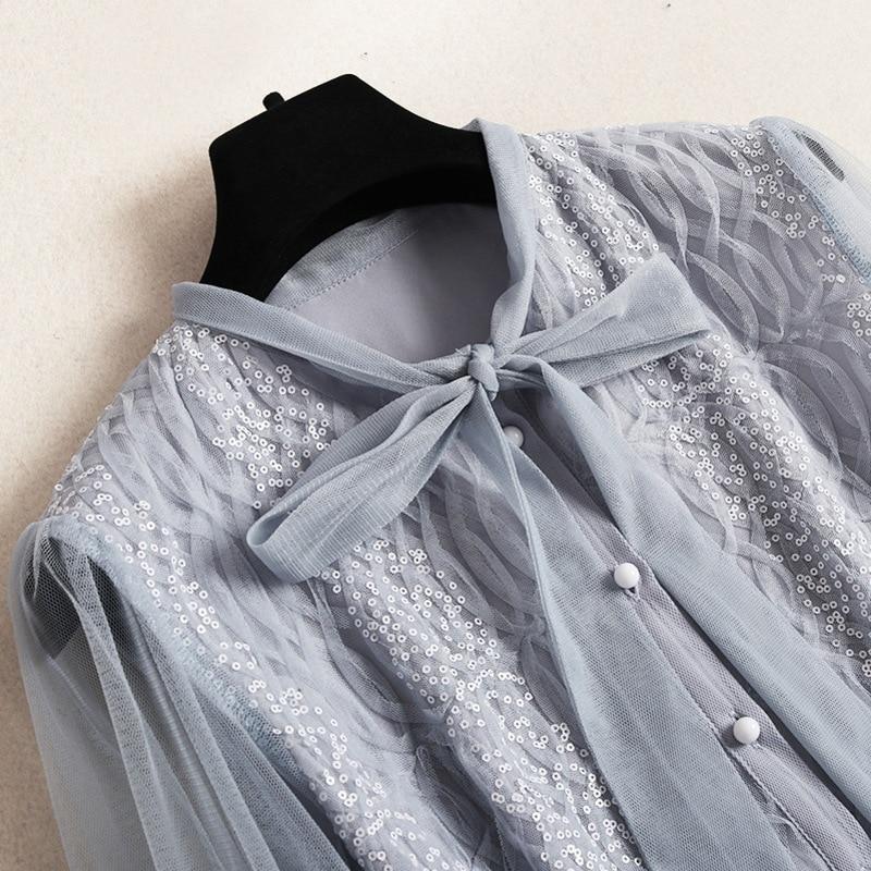 Adorable Femmes Lanterne Vêtements Genou Robes Robe 50011 longueur Pour Haute Manches Couture Shuchan Élégant Paillettes Designers 4wBS5q