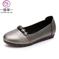 Genuine Leather Flat Women Shoes Spring And Fall Fashion Round Toe Shoes Big Size MUYANG MIE