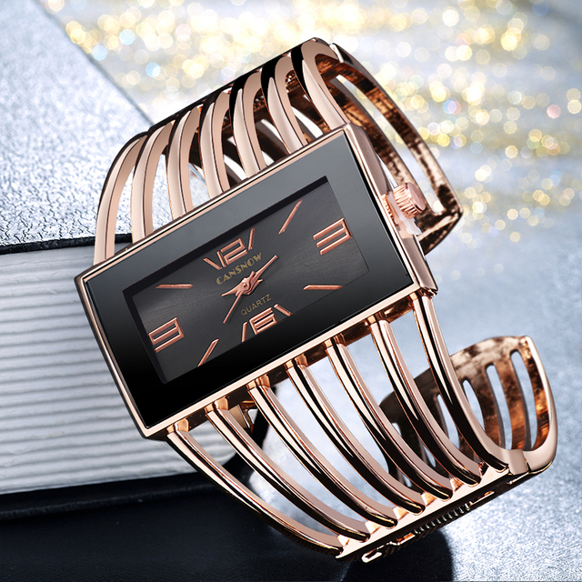 CANSNOW Womens Watch Luxury Fashion Rose Gold Bangle Bracelet Watch Women Dress Clock Female Lady Saati Girls Wristwatch Relojes 1