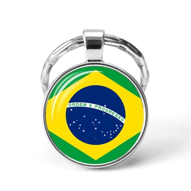 2019 Newest Metal Football World Cup Keychain Ukraine / Spain / Israel / United Kingdom National Flag Glass Cabochon Keyring