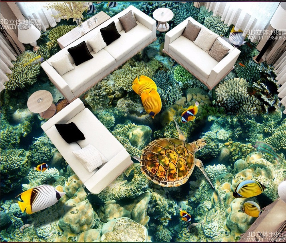 Free Shipping Underwater World Coral Sea Turtle Tropical Fish 3D Floor Tiles waterproof bathroom living room flooring mural