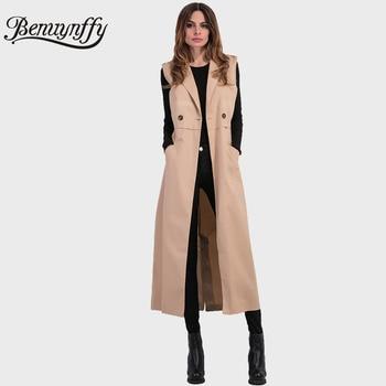 Benuynffy 2017 New Spring Autumn Long Waistcoat Coat Women Ladies Elegant Fashion Sleeveless Vest Jackets Casual Outwear W567 gown