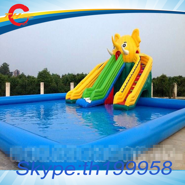 free air shipping to doorcommercial giant inflatable water slide with large inflatable swimming pool - Inflatable Pool Slide